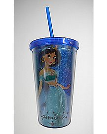 Glitter Jasmine  Cup with Straw - 16 oz.