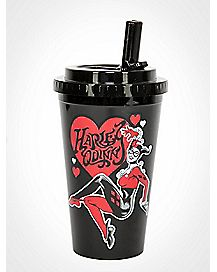Heart Harley Quinn Cup with Straw