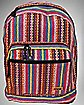 Striped Hippie Backpack Pink and Green