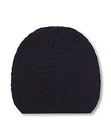 Black Slouch Rib Hem Beanie Hat