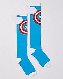 Captain America Winged Knee High Socks