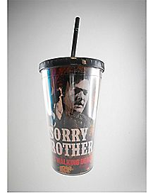 Sorry Brother Walking Dead Cup with Straw 16 oz