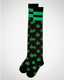 Allover Leaf Knee High Socks Black & Green