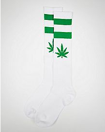 White and Green Leaf Knee High Socks