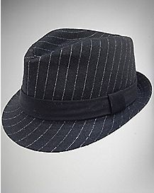 Black & White Pinstripe Toddler Fedora Hat