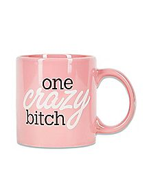 Pink One Crazy Bitch Coffee Mug 22 oz