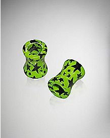 Green and Black Star Tunnel Plug 2 Pack
