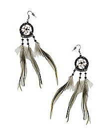 Feather Dream Catcher Dangle Earrings