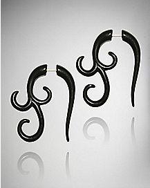 Spiral Tribal Fake Taper Earrings 2 Pack