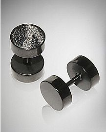 Black Zebra Glitter Fake Plug Set
