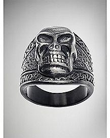 Steel Aged Skull Ring