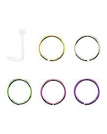 Colored Twist & Hoop Nose Ring 6 Pack- 20 Gauge