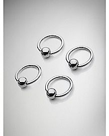 Hoop Shark Bite Lip Ring 4 Pack- 16 Gauge