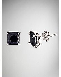 Square Cz Stud Earrings 2 Pack -  Black