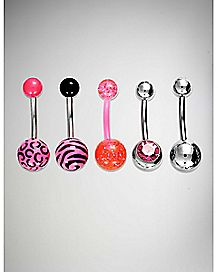 Colored Barbell Belly Ring 5 Pack - 14 Gauge