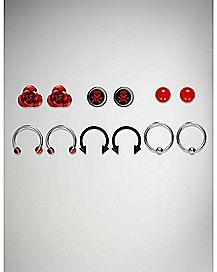 Skull Rose Stud & Captive Hoop Horseshoe Rings- 6 Pack