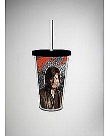 16 oz The Walking Dead Zombie Foil Cup with Straw