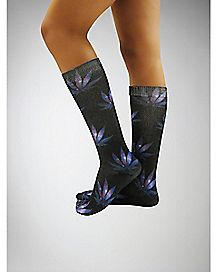 Space Leaf Sublimated Knee High Socks