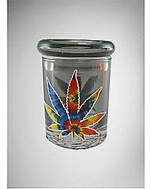 Tie Dye Pot Leaf Storage Jar - 3 oz Glass