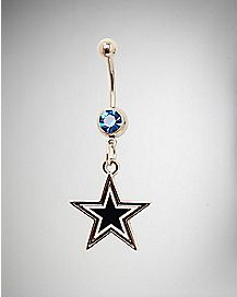 Dallas Cowboys NFL Dangle Belly Ring - 14 Gauge