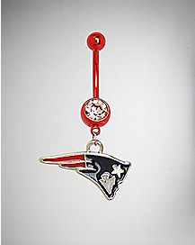 New England Patriot NFL Dangle Belly Ring - 14 Gauge