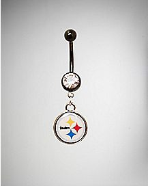 Pittsburgh Steelers NFL Barbell Dangle Belly Ring - 14 Gauge