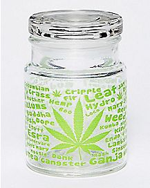 Pot Leaf Names Storage Jar - 6 oz Glass