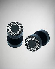Black Laser Criss Cross Fake Plug Set