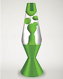 Lava Lamp - 16.3 Inch Clear Liquid Neon Green Wax