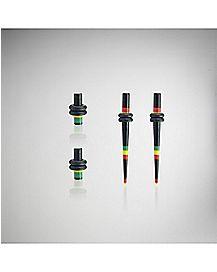 Rasta Striped Plug & Stretcher Taper Plugs 4 Pack