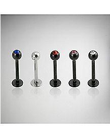 Black Colored CZ Labret Lip Ring 5 Pack - 16 Gauge