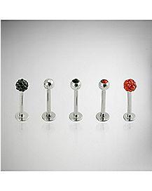 Red &  Black Cz Labret 5 Pack -16 Gauge