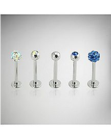 Blue & Clear CZ Labret Lip Ring 5 Pack - 16 Gauge