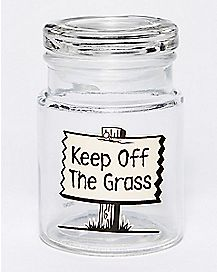 Keep Off the Grass Storage Jar - 6 oz Glass