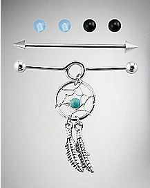 Dream Catcher Industrial Barbell Set - 14 Gauge