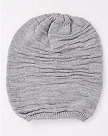 Grey Rib Hem Slouchy Beanie Hat