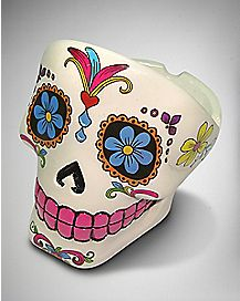 White Sugar Skull Head Ashtray - Polystone