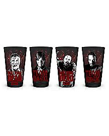 Foil Character Walking Dead Pint Glass Set 16 oz