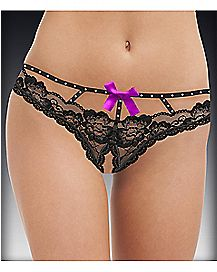 Embellished Caged Lace Crotchless Thong - Black