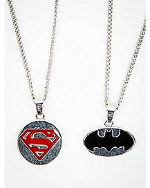 Batman & Superman Bestie Necklace Gift Set- 2 Pack