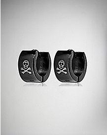 Black Skull Huggie Stainless Steel Earrings