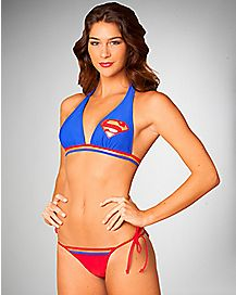 Supergirl Push Up Halter Bikini