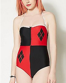 Harley Quinn Lace Up One Piece Swimsuit