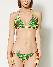 Mary Jane Rasta Leaf Reversible Bikini