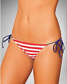Red White & Blue Side String Cinch Swim Bottoms