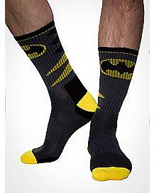 Batman Letter Emblem Mens Active Crew Socks