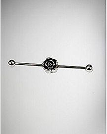 14 Gauge Rose Industrial Barbell