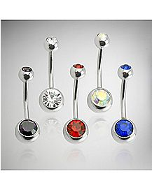 Cz Americana Belly Ring 5 Pack - 14 Gauge