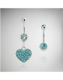 Turquoise-Effect Cz Heart Belly Ring - 14 Gauge