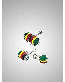 Rasta Vibrating Koosh Barbell - 14 Gauge